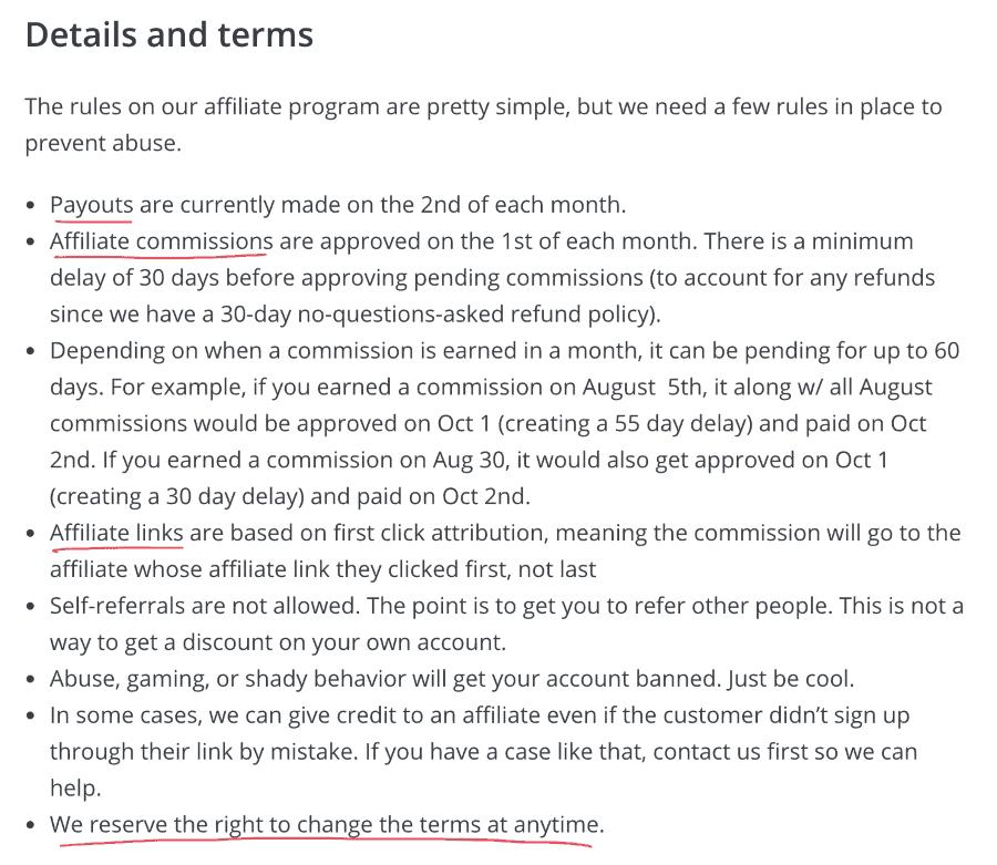 affiliate rules