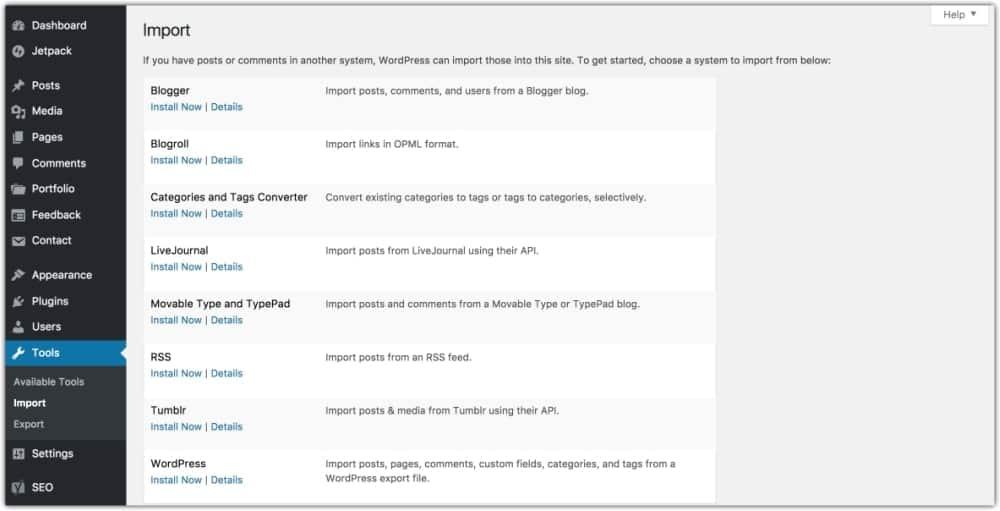 choose free blog platform to import files