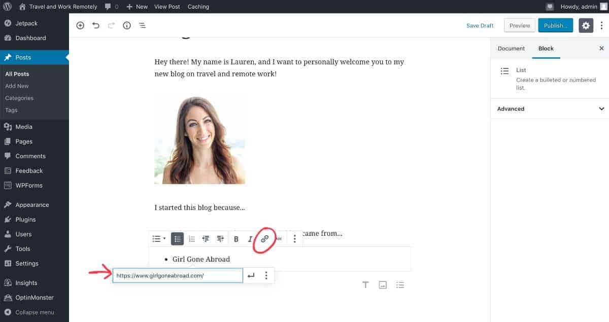 add hyperlink to blog post