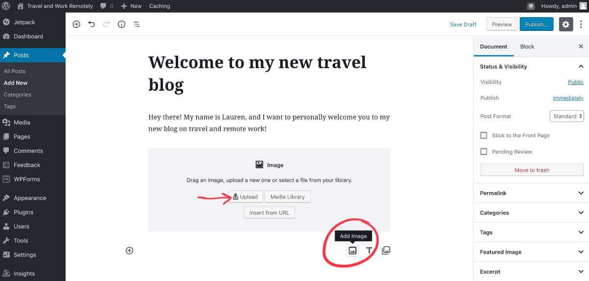 Add image to blog post