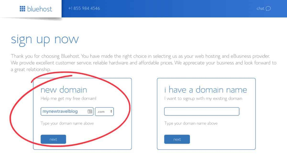 get a new domain name with Bluehost