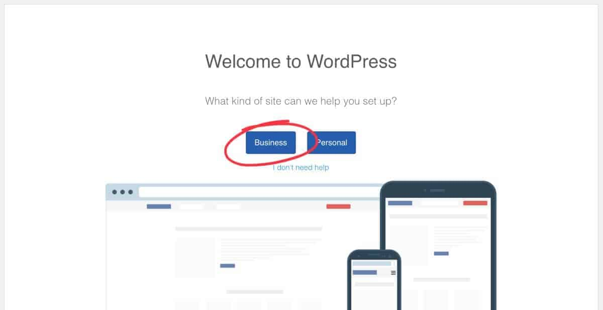 WordPress business setup