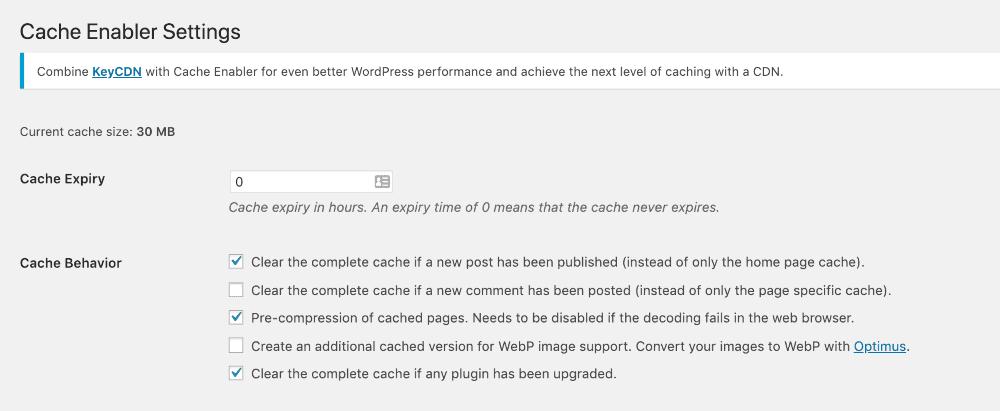 cache plugin settings