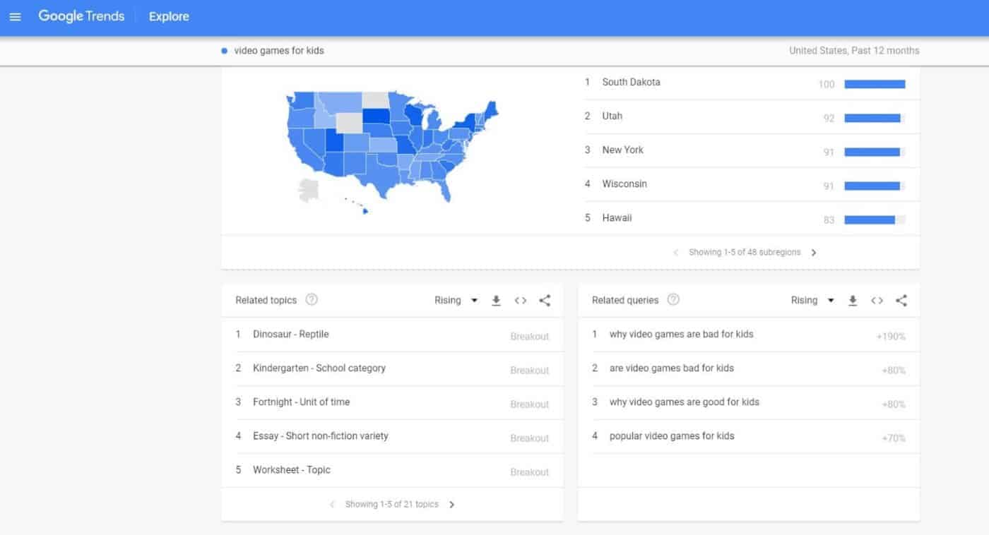 google trends search tool