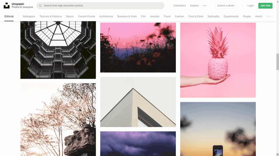 Unsplash collection of free stock photos for blogs