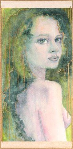 watercolor, Tia Sunshine Dye, tiasunshine.art, Grace, 6x12 watercolor mounted on board
