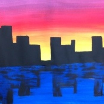 City Skyline with reflection Painting lesson