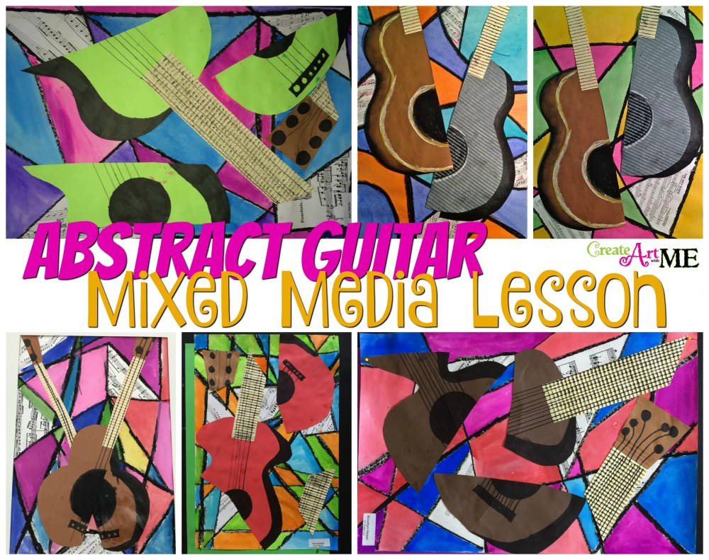 medium resolution of Abstract Art Guitar or Music Instrument Mixed Media Lesson - Create Art  with ME