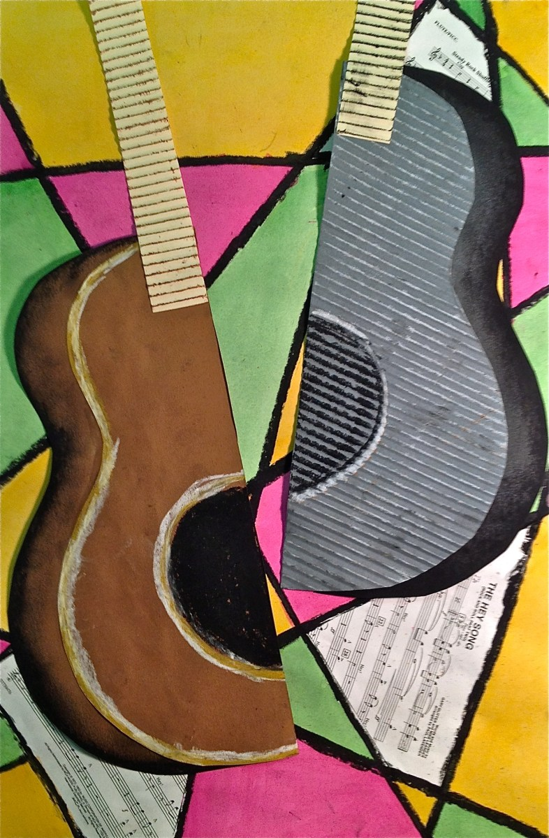Abstract Art Guitar or Music Instrument Mixed Media Lesson