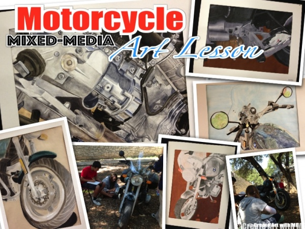 Motorcycle Mixed Media Art Lesson