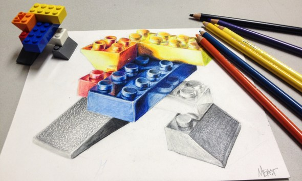 lego colored pencil drawing hs art lesson