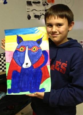Blue Dog Art Lesson Tempera Painting
