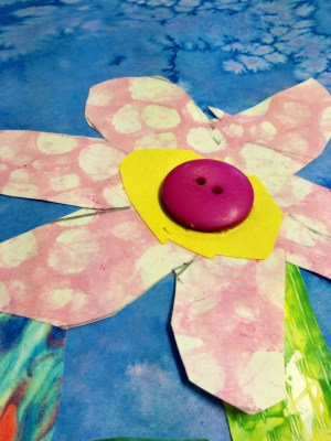 Flower collage bubble Shaving Cream Painting