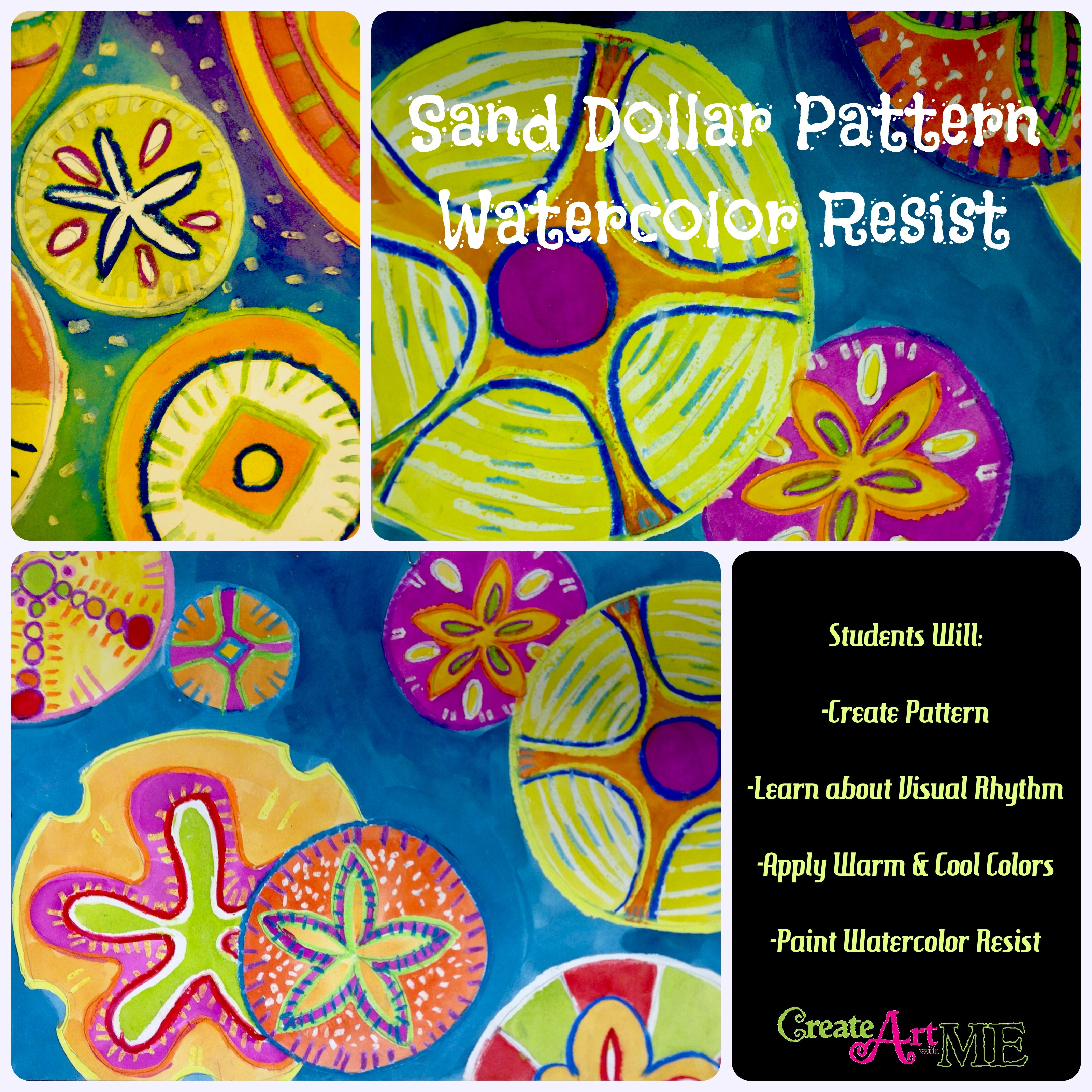 Sand Dollar Pattern Watercolor Resist Lesson