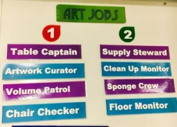 Art Classroom Jobs Sign