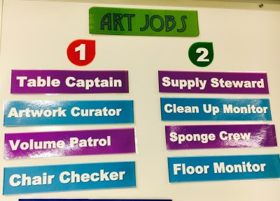 Art Classroom Jobs Sign
