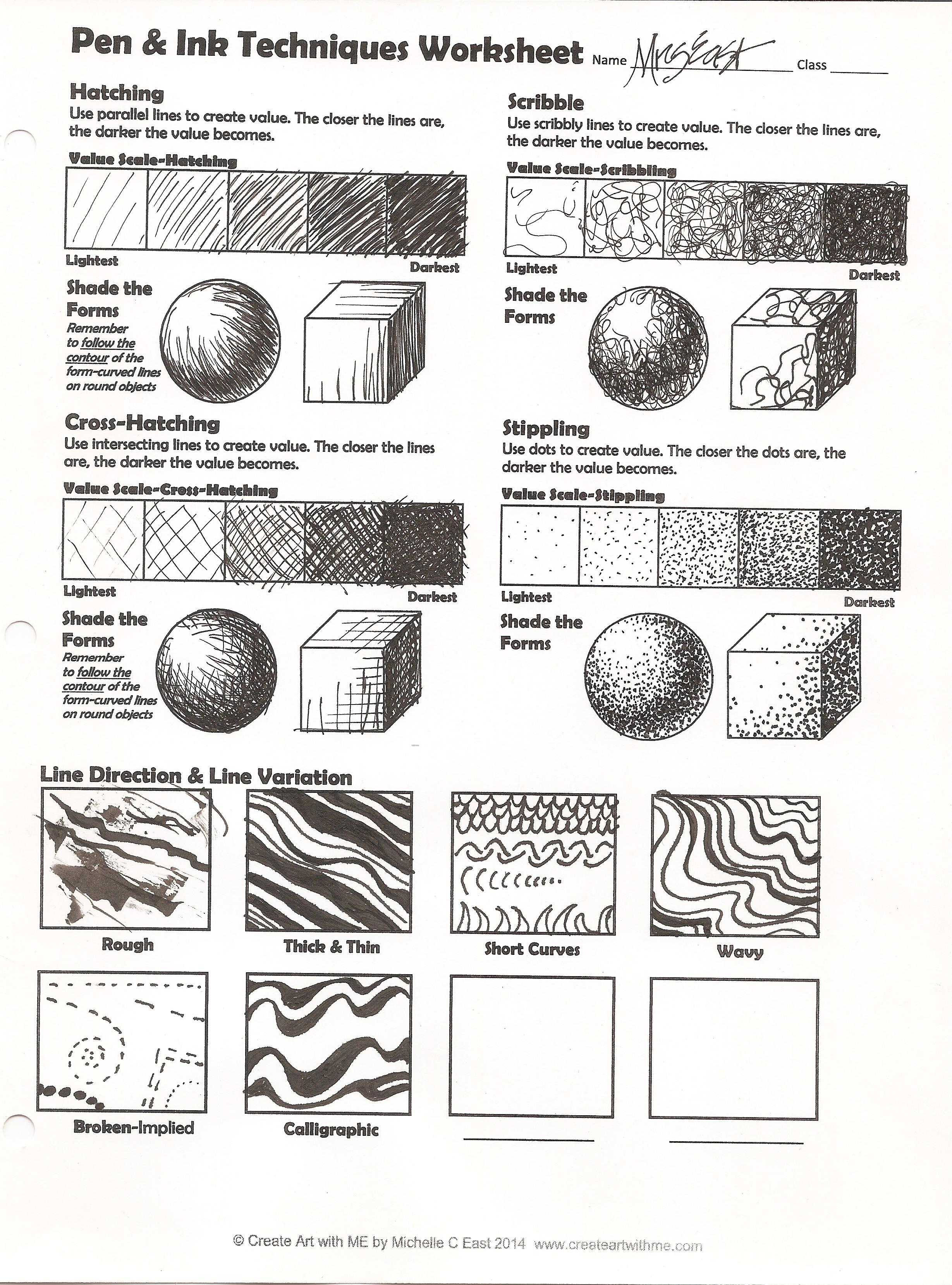 Line Drawing Worksheet : Pen ink techniques lesson plan worksheet create art