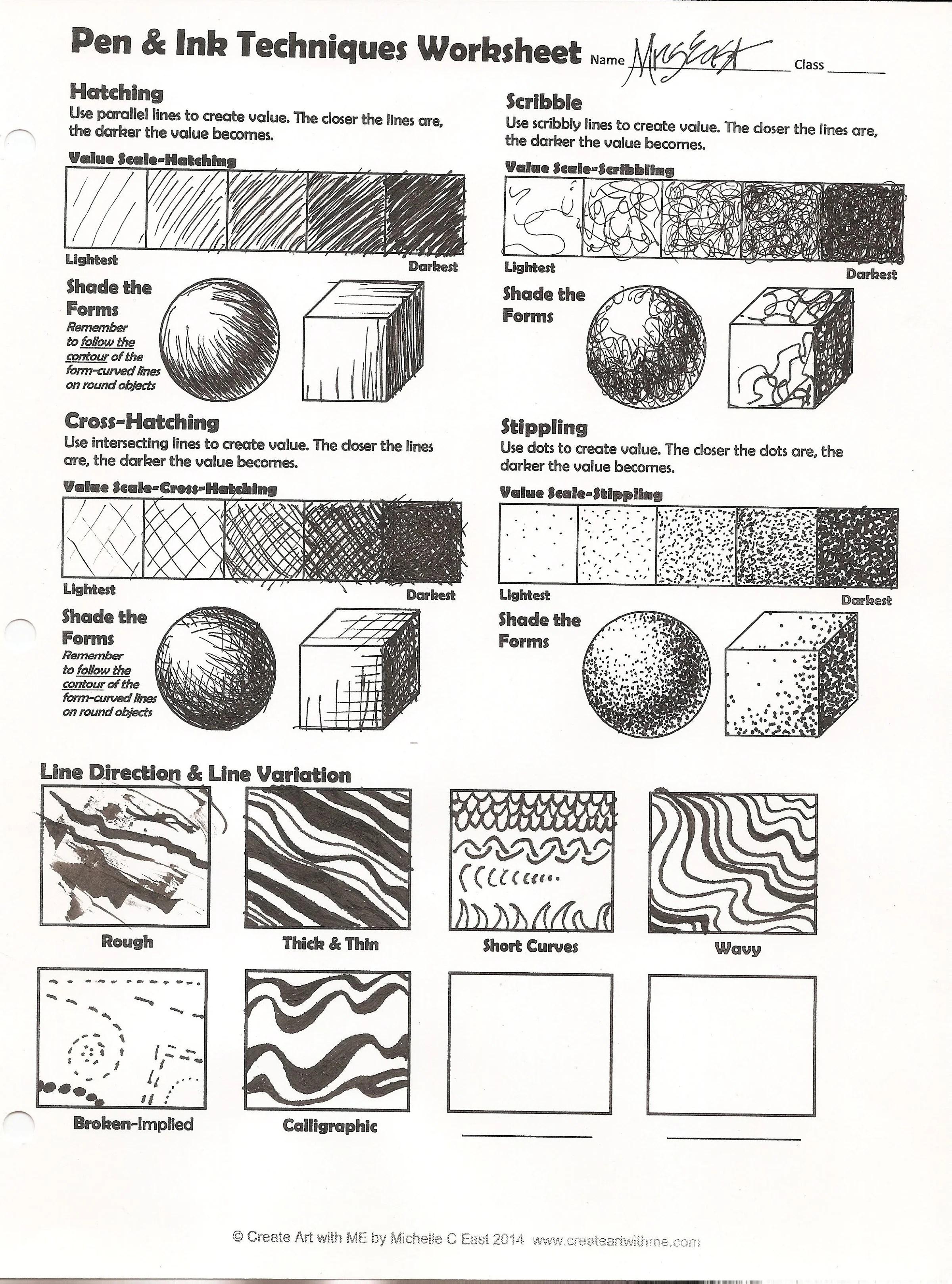 Scribble Drawing Lesson Plan : Pen ink techniques lesson plan worksheet create art