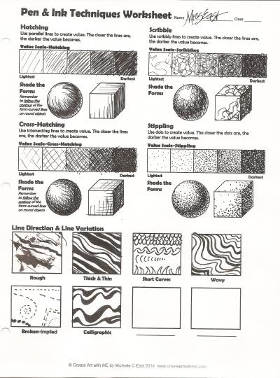 Pen & Ink Techniques Lesson Plan & Worksheet