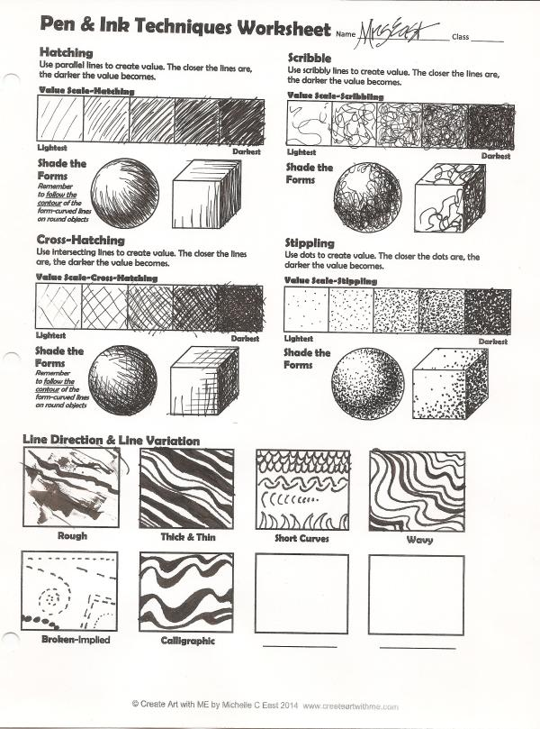 Pen & Ink Techniques Lesson Plan & Worksheet