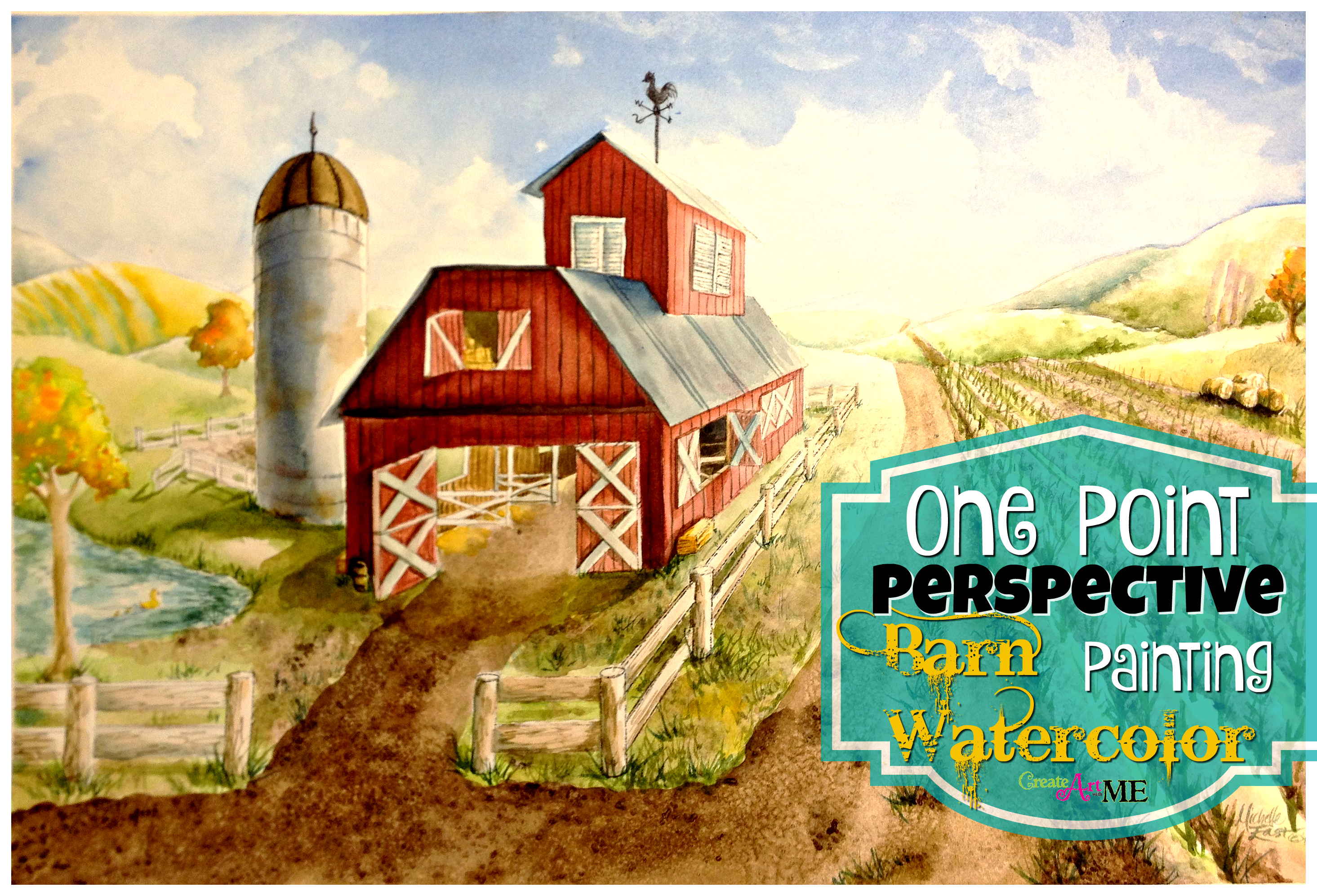 One Point Perspective Barn Watercolor Painting Lesson