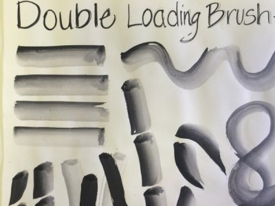 Double load brush 2 value sumi-e strokes painting lesson
