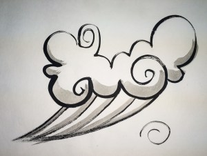 Sumie Painting Whimsical Clouds