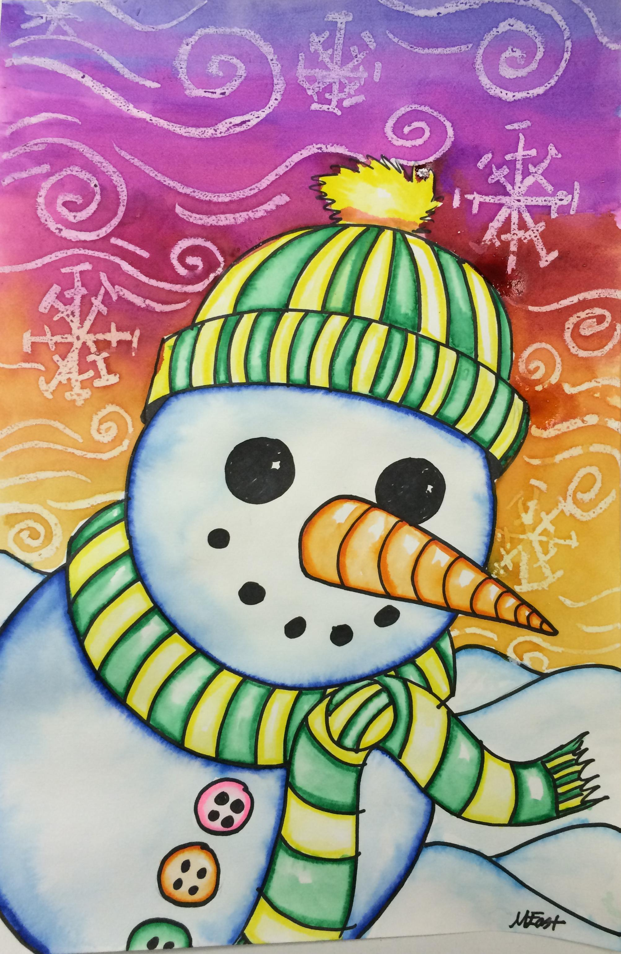 Snowman painting with markers watercolor resist for Watercolor painting and projects