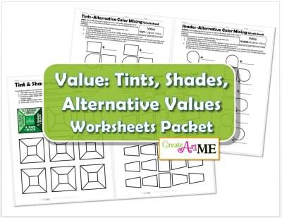 Color VALUE Tints Shades Worksheets Packet