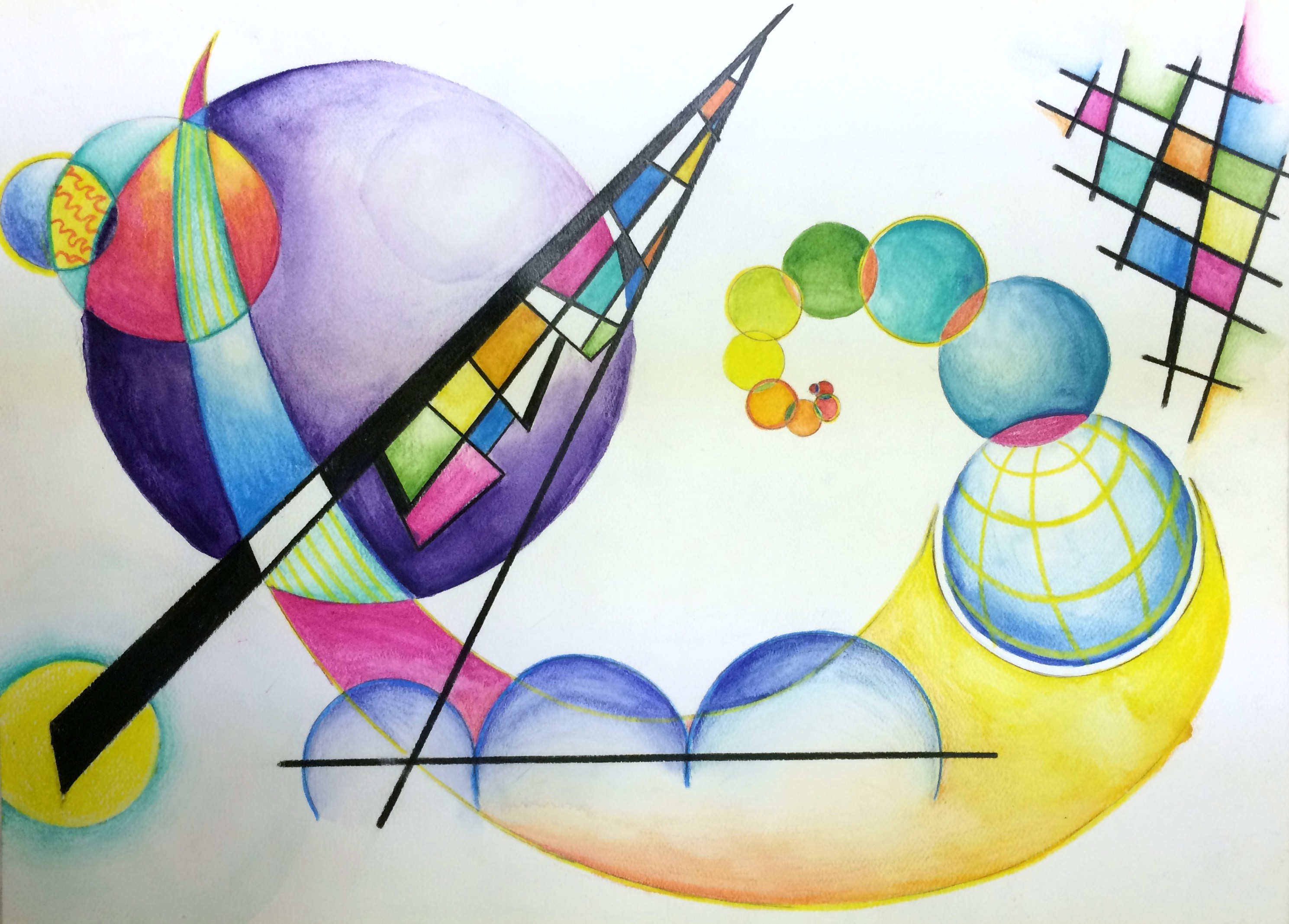 Wassily Kandinsky Non Objective Color Pencil And Watercolor Pencil Painting