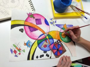 Wassily Kandinsky Non-Objective Color Pencil and Watercolor Pencil Painting