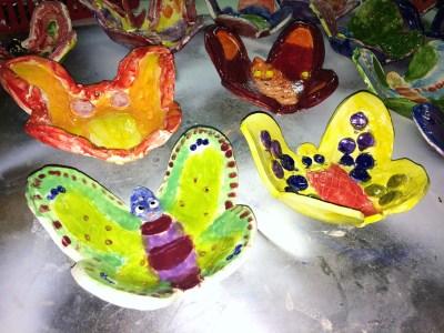 Ceramic clay Butterfly Bowls Glazed