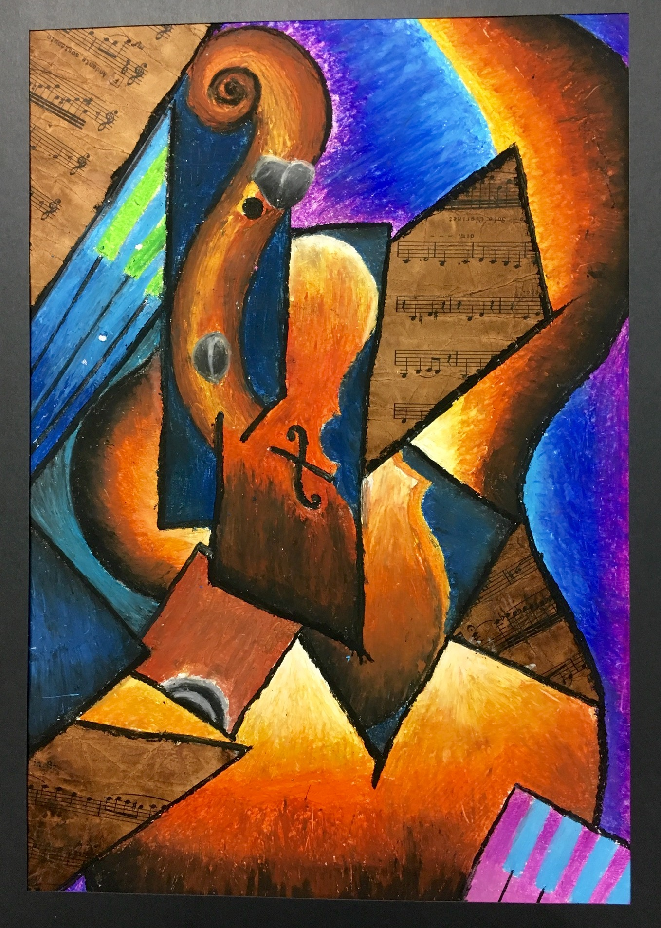 Cubism Instrument Oil Pastel and Collage Art Lesson - Create Art with ME [ 1906 x 1358 Pixel ]