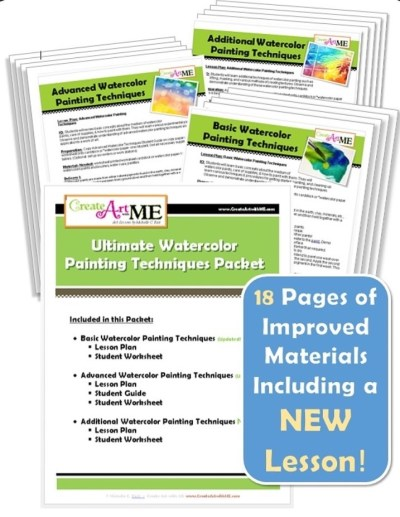 Ultimate Watercolor Techniques Lesson Plan and worksheet PACKET
