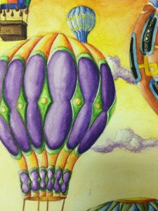 Hot Air Balloons Watercolor Pencil Painting