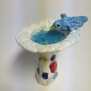 mini bird bath clay with glass beads