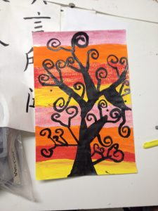 Klimt Swirly Trees