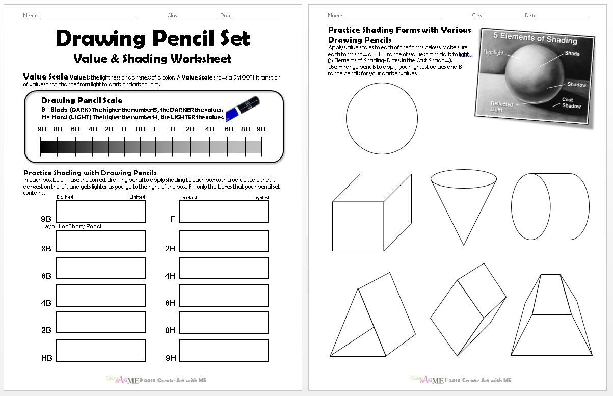 Drawing Pencil Set Value Shading Worksheet - Create Art with ME [ 777 x 1203 Pixel ]