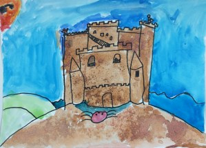 Sand Castle Salt and Watercolor Painting Art Lesson