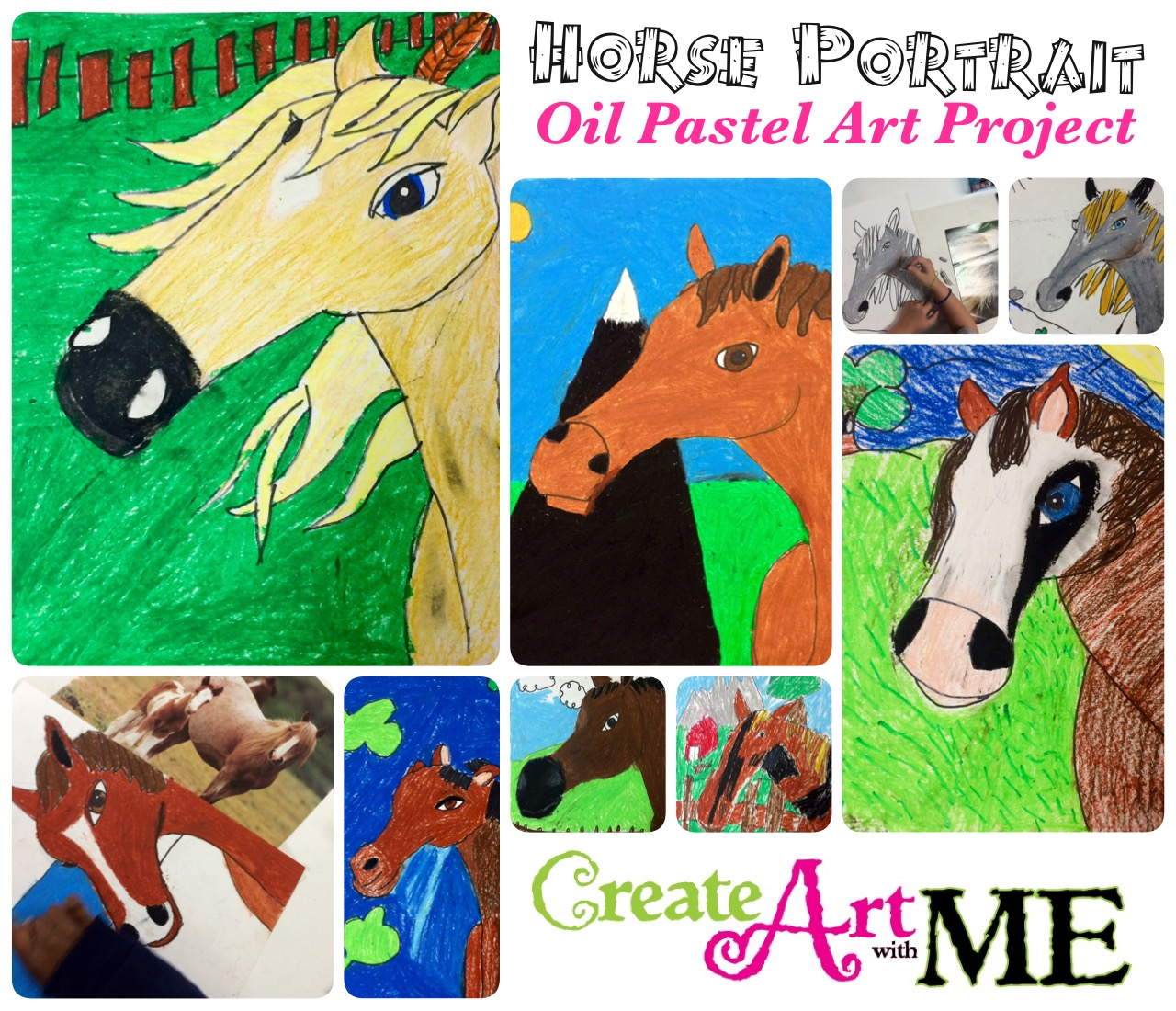 Horse Portrait Oil Pastel Drawing Art Lesson