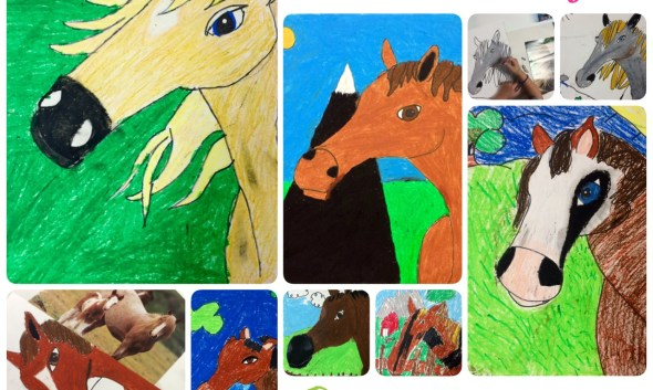 Horse Portrait Oil Pastel Art Lesson