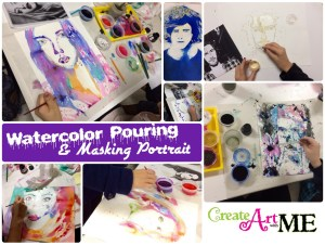 Watercolor Pouring and Masking Portrait Lesson