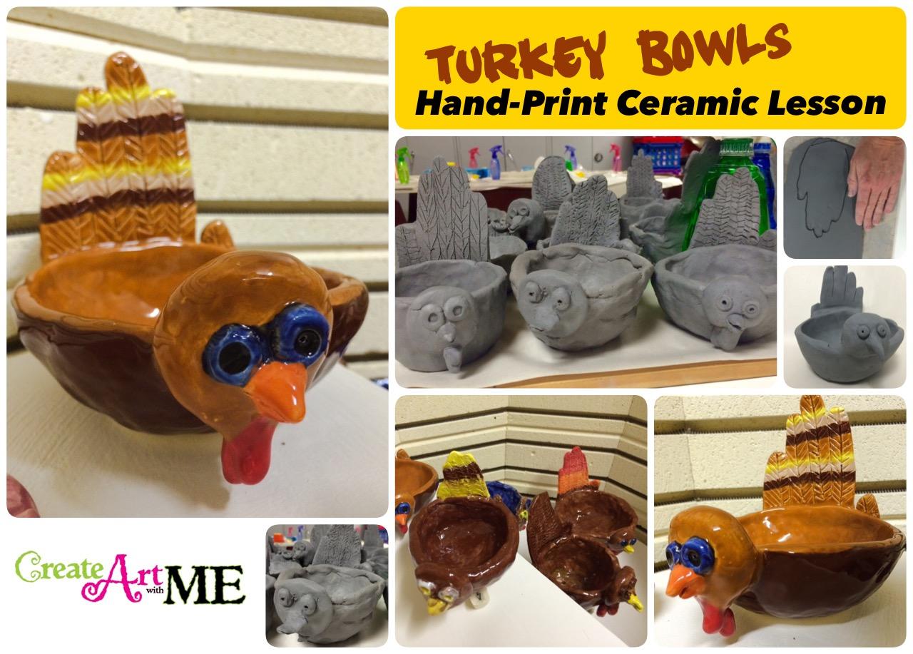 Ceramic Turkey And Hand Print Pinch Pot Lesson
