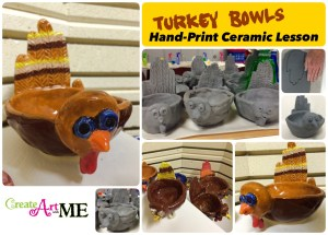 Ceramic Turkey and Hand-Print Pinch Pot Lesson