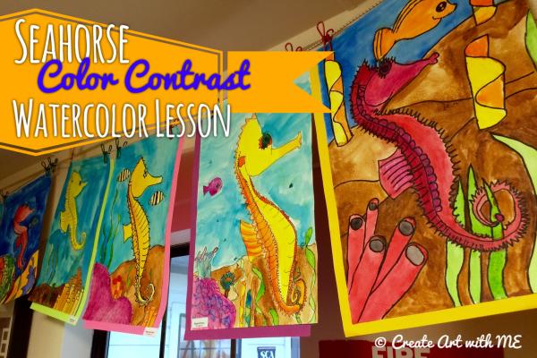 Seahorse color contrast watercolor lesson