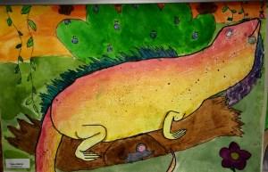 Iguana Watercolor Texture Rubbing Painting