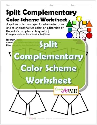 Split Complementary Color Scheme Worksheet