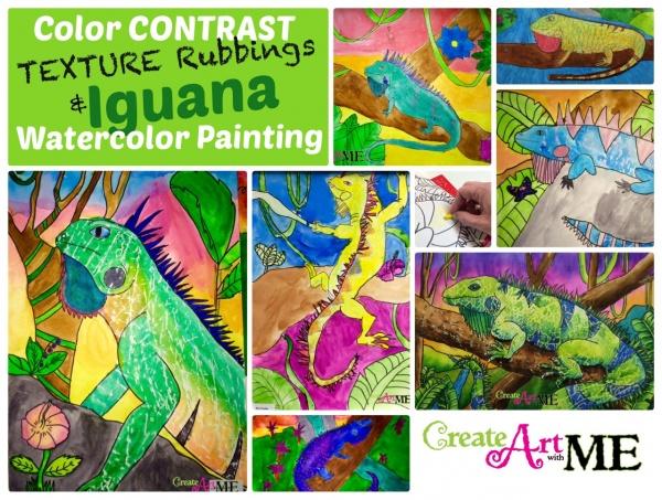 Color contrast texture rubbings iguana watercolor painting
