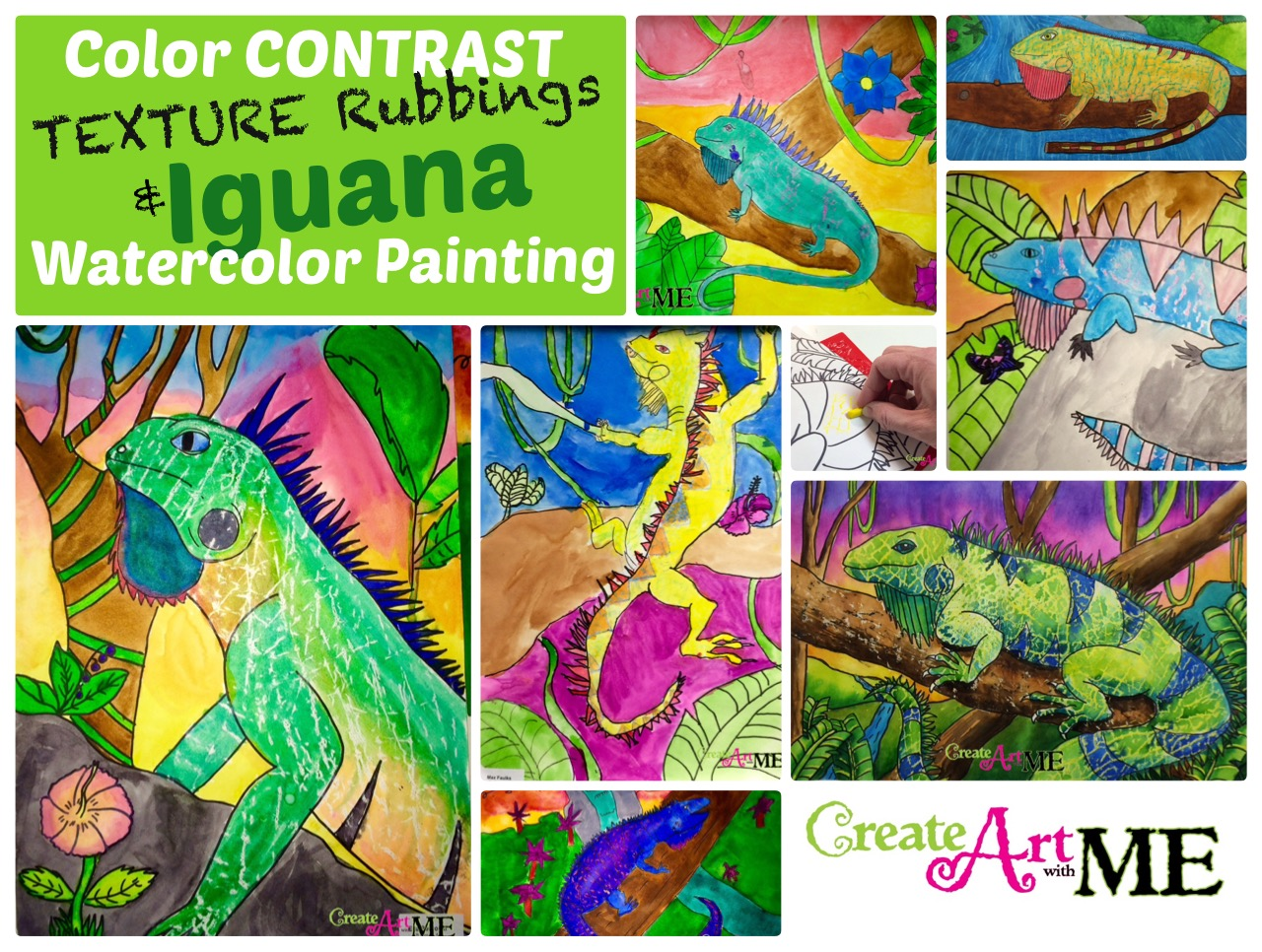 Color Contrast Texture Rubbings Amp Iguanas Watercolor Resist Painting