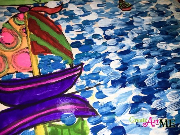 Creating the Illusion of Depth Space & Claude Monet Sailboat Art Lesson